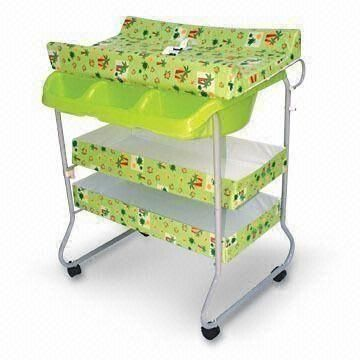 Baby Changing Bath Tub With Lock Wheels Stand, Assorted Patterns And Colors  Are Available
