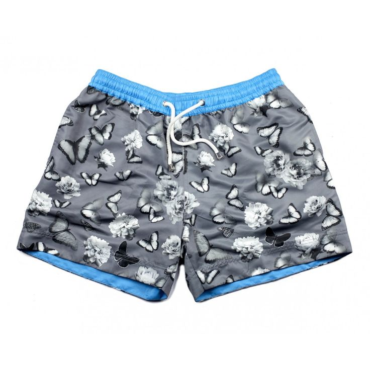 HOLLYWOOD BUTTERFLY SHORTS | The Hollywood Butterfly Shorts from Thomas Royall have been designed for the confident man who wants to turn heads at the beach or by the pool. The superbly vivid butterfly artwork has been layered with a contrasting grey background, creating a stunning look. Shop the collection at thomasroyall.com