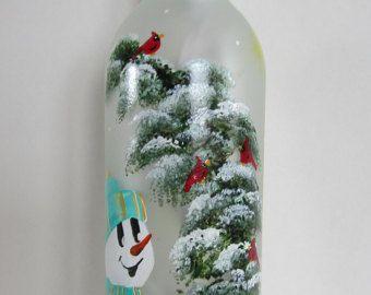 Hand Painted Jack-O Lantern Lighted Wine Bottle  Night Light