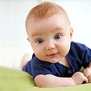 Growth & Development Milestones: 1-3 Months: Raises Head & Chest When Lying on Stomach (via Parents.com)