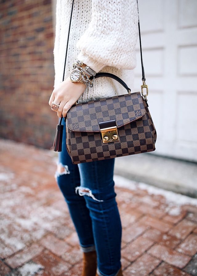 Chunky beanie , Free People pullover, AG jeans // Joie booties // Louis Vuitton cross body