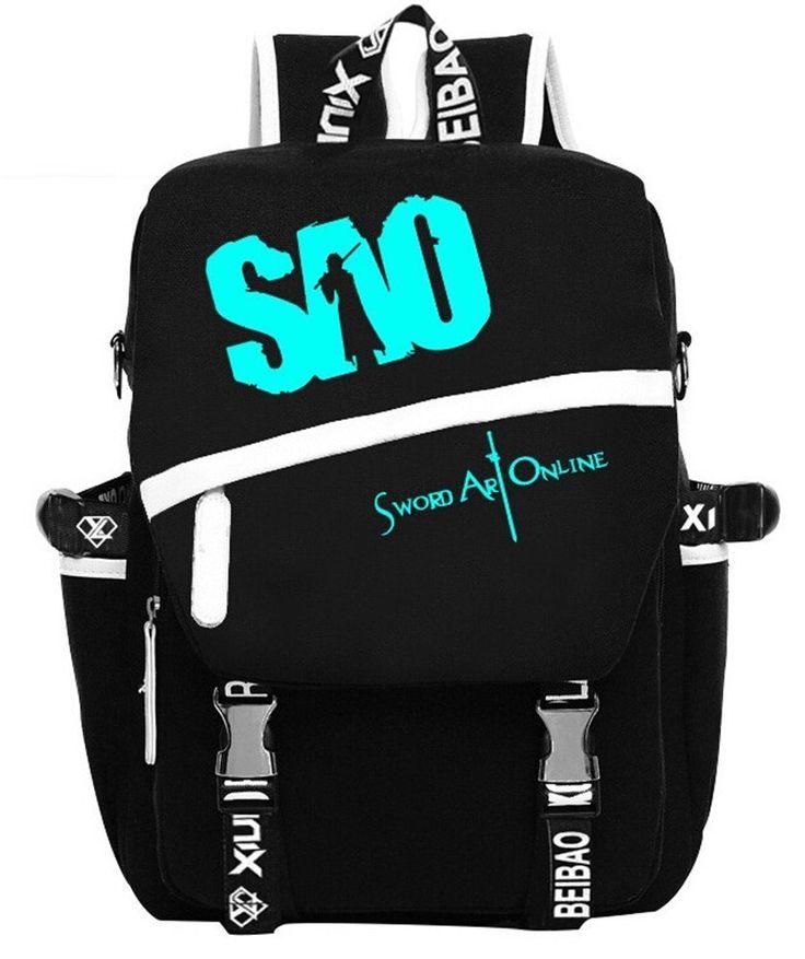 Amazon.com: Siawasey Sword Art Online Anime Kirito Cosplay Luminous Backpack Shoulder School Bag: Computers & Accessories