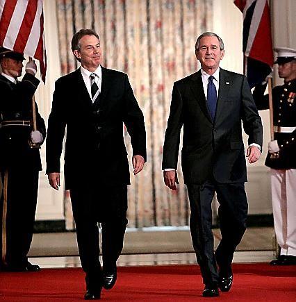 British prime minister Tony Blair and US president George Bush