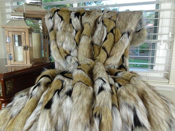 Luxury Taupe Black Faux Fur Throw Blanket Bedspread Taupe Fur