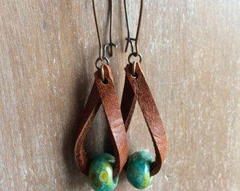 Boho Leather earrings - Distressed leather drop earrings - fashion jewelry - boho earrings- rustic jewelry - dangle - unique style jewelry