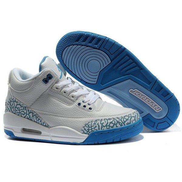 new concept 966d5 1da1b ... norway women air jordan 3 retro sneakers blue white wj3 014 liked on  polyvore 4ea48 275d1