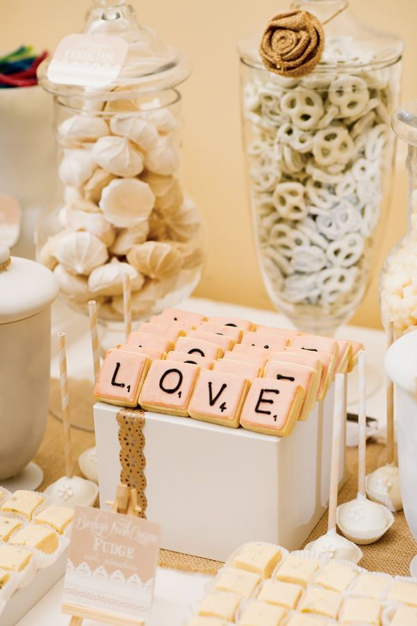 Shabby Chic Scrabble Inspired Wedding Dessert Table Cheryl Weise of CW Distinctive Designs  Desserts and candy by Paula and Erika