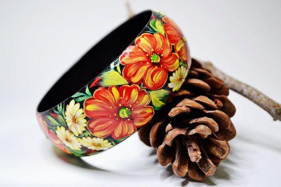 Bracelet Hand painted .Wood.Russian folk by IGORartPAINTING