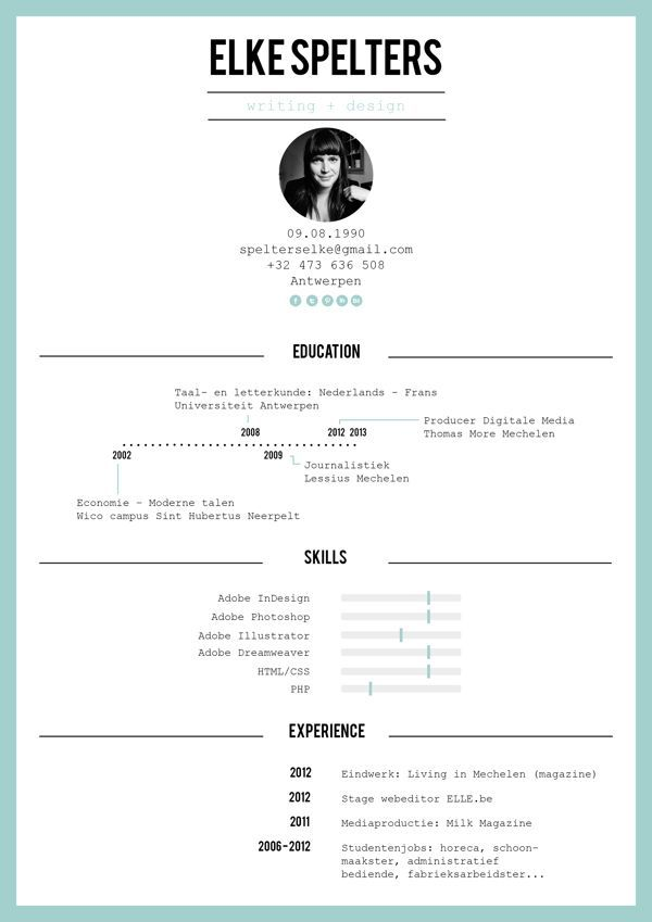 Resume by Elke Spelters, via Behance: