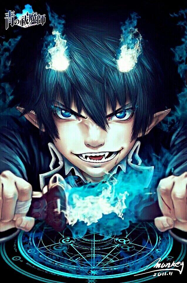 Demonio haciendo exorcismo... Hay gente para todo -Rin Okumura de Ao No Exorcist-