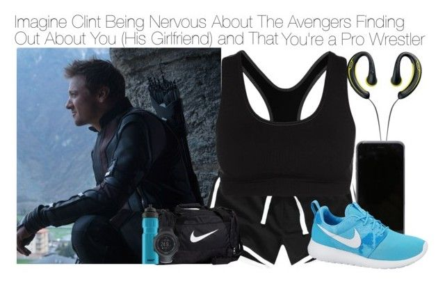 """Imagine Clint Being Nervous About The Avengers Finding Out About You (His Girlfriend) and That You're a Pro Wrestler"" by xdr-bieberx ❤ liked on Polyvore featuring Jabra, NIKE, SIGG and Suunto"