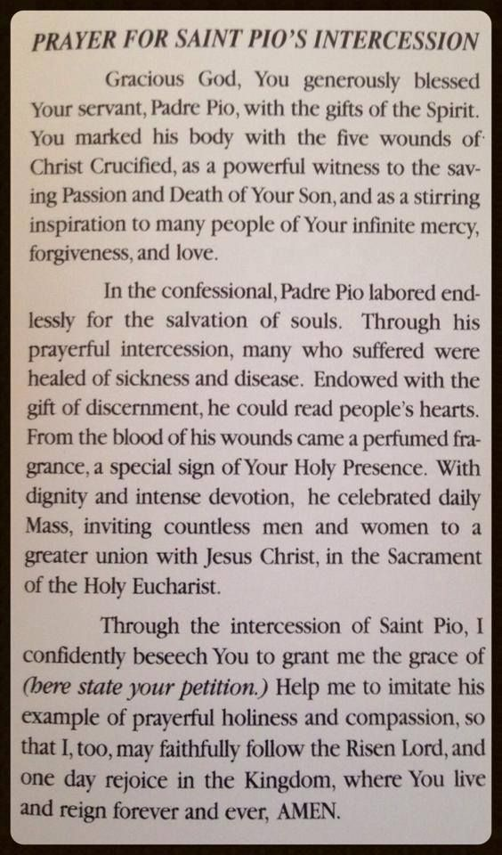 Prayer for the Intercession of St. Padre Pio