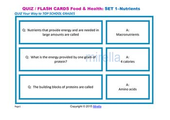 QUIZ Your Way to TOP SCHOOL GRADES  Food & Health QUIZ CARDS cover different…