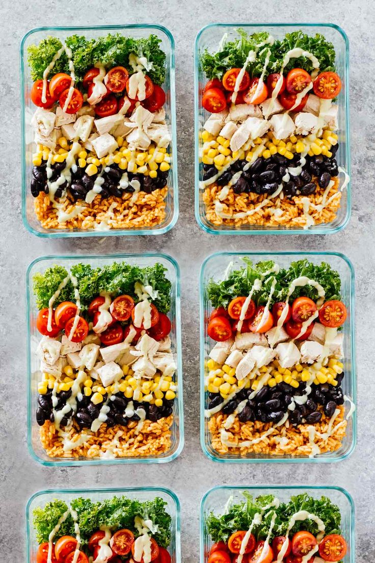 Meal Prep Chicken Burrito Bowls! Gluten free and great for taking on-the-go!