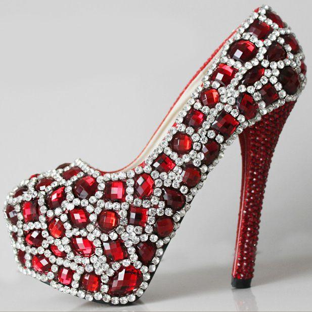 escarpin rouge de soirée chaussures femmes crystal strass spectaculaires pas cher à talon aiguille chaussures originales