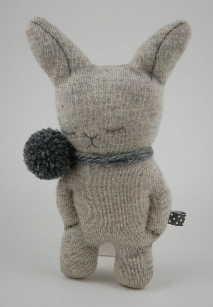 muc-muc3 - www.prikkeltje.nl sweet whimsical cute rabbit plushie sock toy , great for christmas as the velveteen rabbit or easter sleep tight little bunny