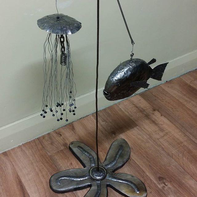 Underwater theme! A fish, jellyfish and starfish. Cute  By #sunrayartyfacts #metalart #metalartist #raywoledge