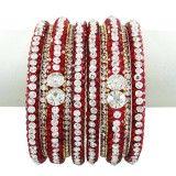 Women Ethnic Kada Jewelry Silvertone CZ Stone Kundan Bangle Set Jewellry 2*10
