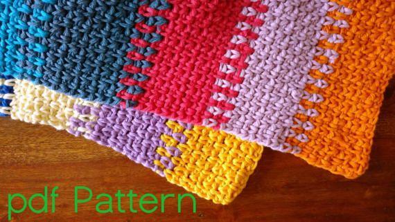 CROCHET PATTERN Scarf colourful cotton moss stitch granite stitch easy immediate download pdf file English womenswear geometric pattern