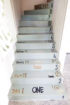 I think these are Tracy Tawhiao's stairs but may be wrong. They are cool and I think I've pinned them befoer. O love te Reo.