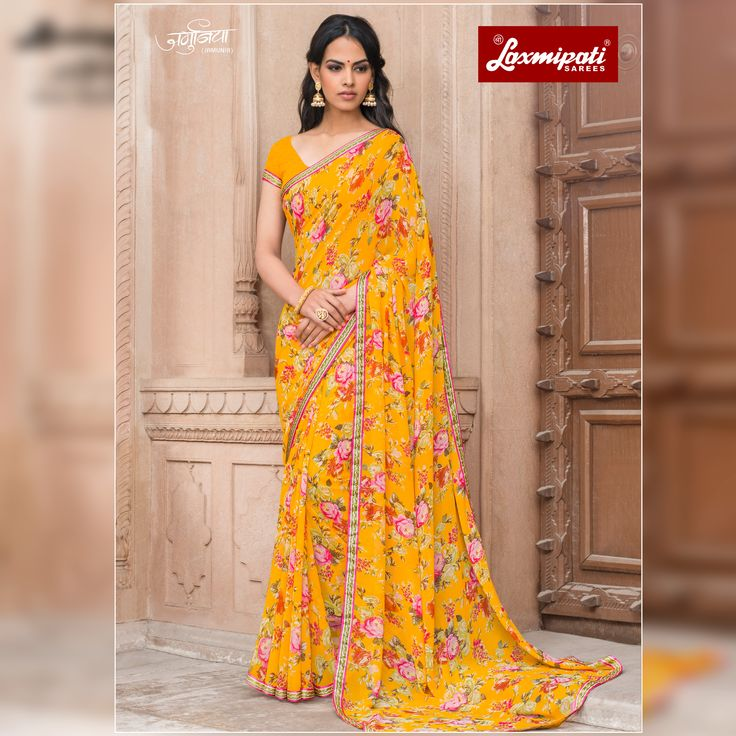 Get this Picturesque Multi Colored Georgette #Floral_Printed #Saree and Mustard Georgette Blouse along with Rawsilk Lace Border from Laxmipati Sarees. #Catalogue #JAMUNIA #DesignNumber: 4536 #Price - ₹ 1525.00  #Bridal #ReadyToWear #Wedding #Apparel #Art #Autumn #Black #Border #MakeInIndia #CasualSarees #Clothing #ColoursOfIndia #Couture #Designer #Designersarees #Dress #Dubaifashion #Ecommerce #EpicLove #Ethnic #Ethnicwear #Exclusivedesign #Fash