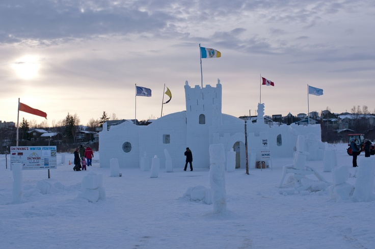 The Snow King's Ice castle is created on a frozen bay in Yellowknife, Northwest Territories and welcomes visitors for the month of March each year.