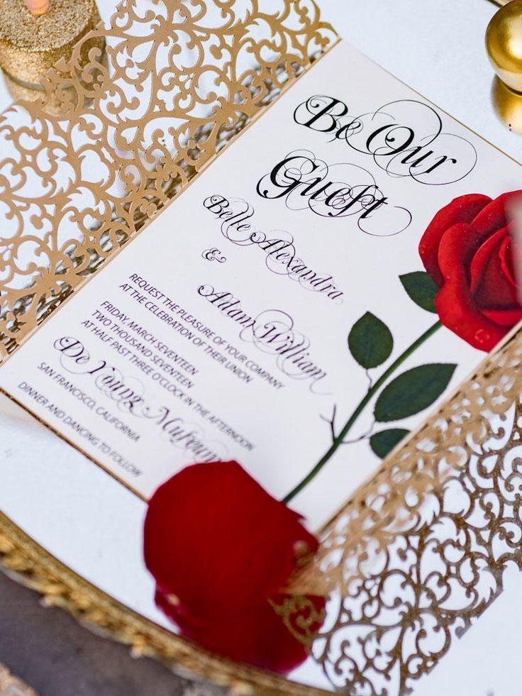 sapphire wedding anniversary invitations%0A Beauty and the Beast themed wedding invitations