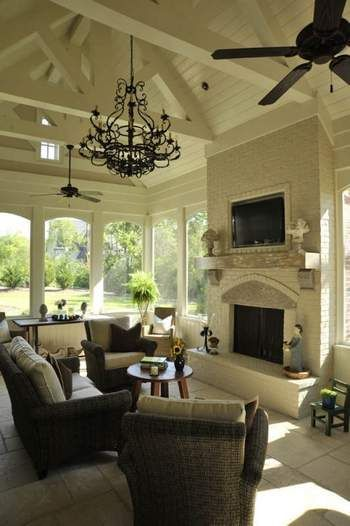 screened porch-it has everything! Even a chandelier and a ceiling fan!