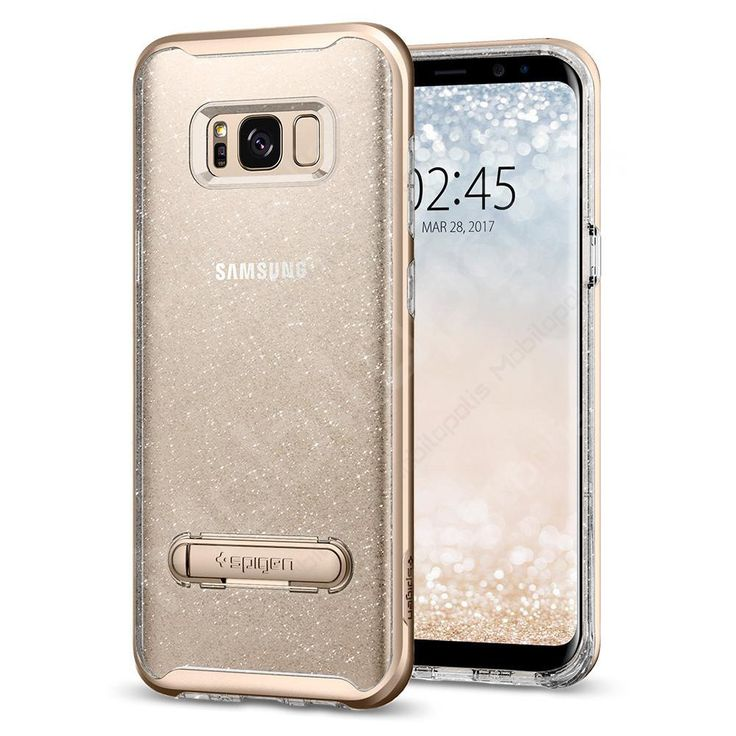 Průhledný kryt na Samsung Galaxy S8 se stojánkem Spigen Crystal Hybrid glitter zlatý třpytivý