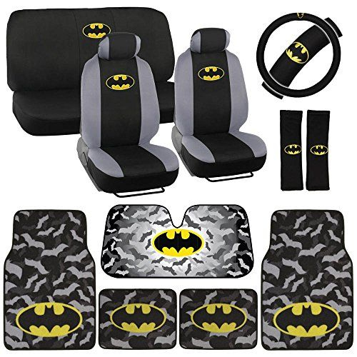Batman Seat Cover, Carpet Floor Mat And Sun Shade   Warner Brothers 14  Piece Full