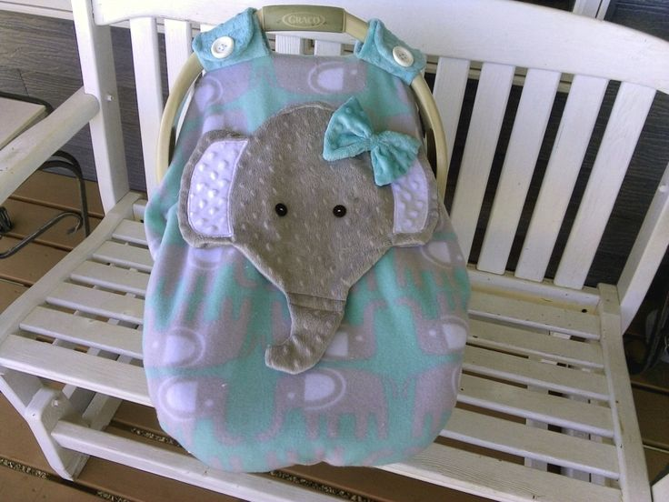 Fitted Elephant Car Seat Canopy With Peek A Boo Opening Appliqued