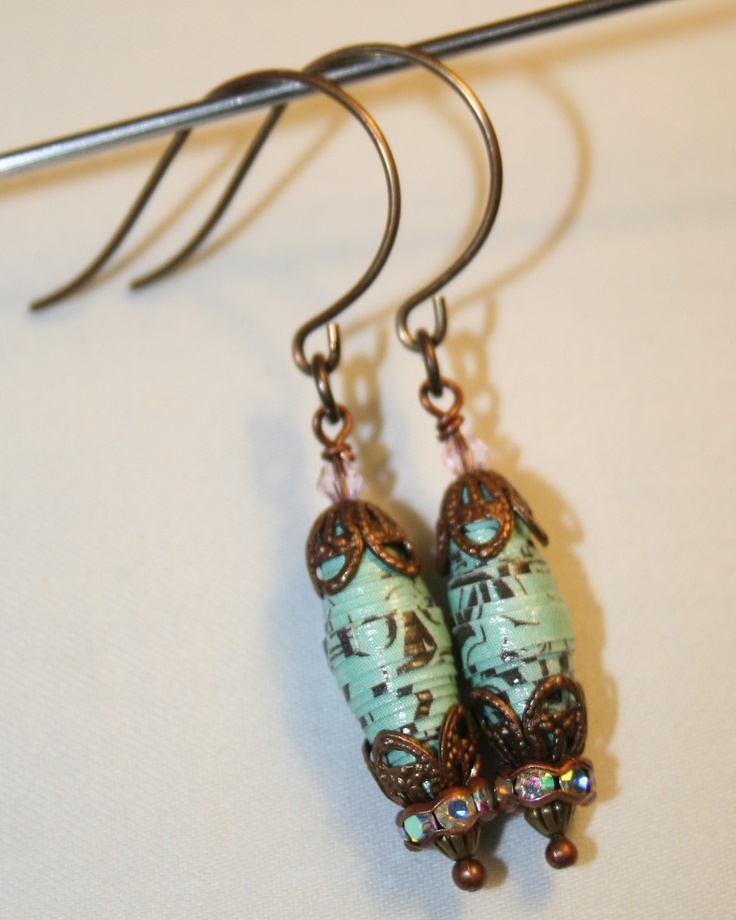 Earrings made of handmade paper beads, Vintaj brass and Swarovski crystals