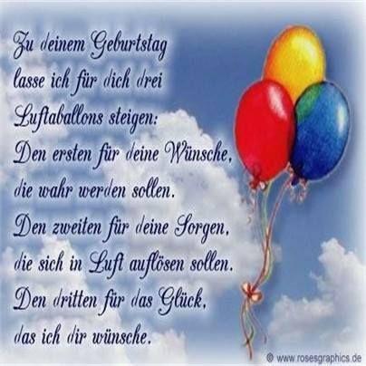 Zu deinem Geburtstag lasse ich für dich drei Luftballons steigen...