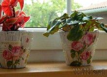 Декупаж на цветочных горшках из ротанговой плетеной соломы
