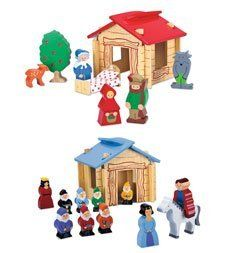 Wood Fairytale Cottage Set - Fairy Toy by Hearth Song. $19.99. Wood Fairytale Cottage Set. This sustainable rubber wood play set is definitely the fairest in the land! Snow White set includes Snow White, the seven dwarfs, the dark queen, the prince, and his white horse. Little Red Riding Hood set comes with Little Red, the woodsman, the big bad wolf, a fawn, an apple tree, Grandma, and her bed and covers. Cottage pieces interlock for simple construction. For ages 3 and up. Susta...