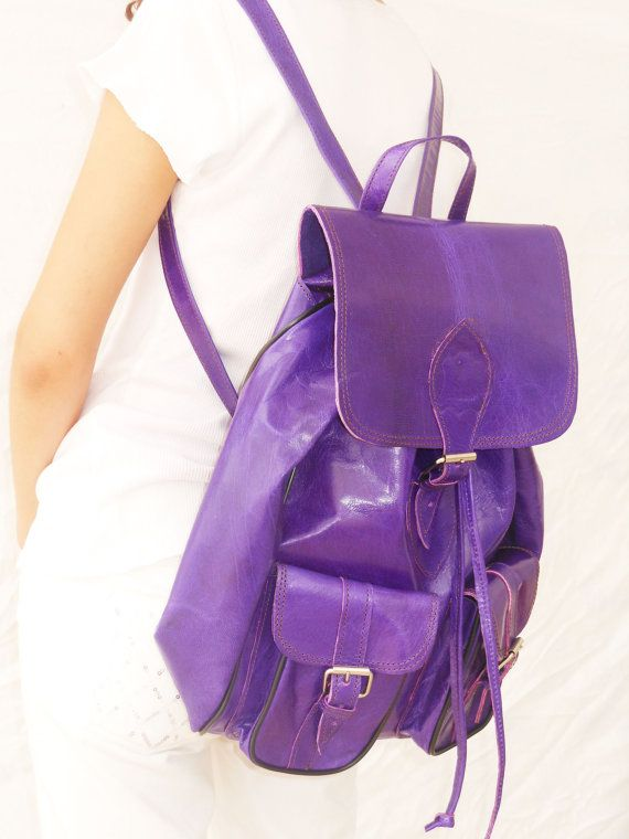 Christmas Gift Sale 15 OFF Purple Leather backpack by NoussaBags, $49.00