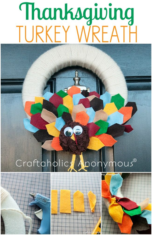 Gobble Gobble with this turkey craft idea. Simple DIY that makes door pop with colorful delight!