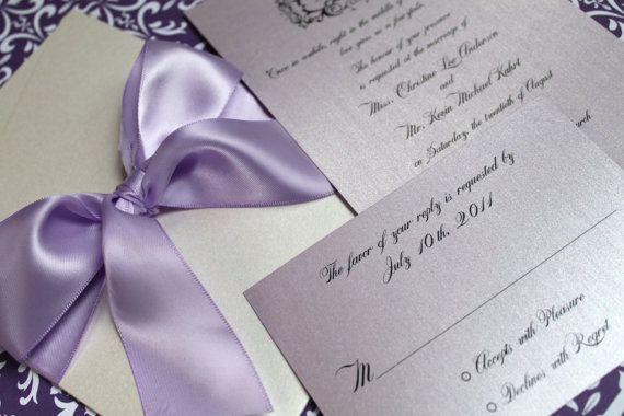 Purple Pocket Invitation Boxed Wedding Invite por decadentdesigns