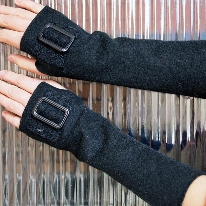 Upcycled Felted Sweater Fingerless Gloves / Mittens / Arm Warmers - Black with Buckles. $36.00, via Etsy.