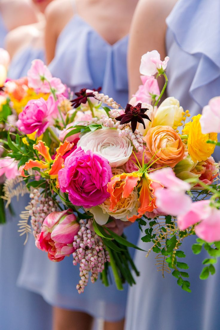 Colorful spring wedding bouquet: Photography: Dana Cubbage Weddings - danacubbageweddings.com Read More on SMP: http://www.stylemepretty.com/2016/12/19/colorful-charleston-spring-wedding/