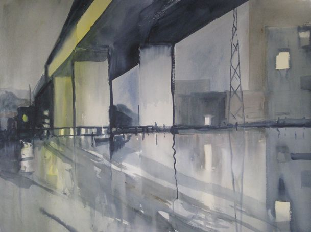 Bolte Bridge at Night watercolour on paper $4000 AUD + Post