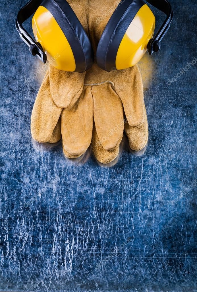 Leather safety gloves and ear muffs Stock Photo , ad,