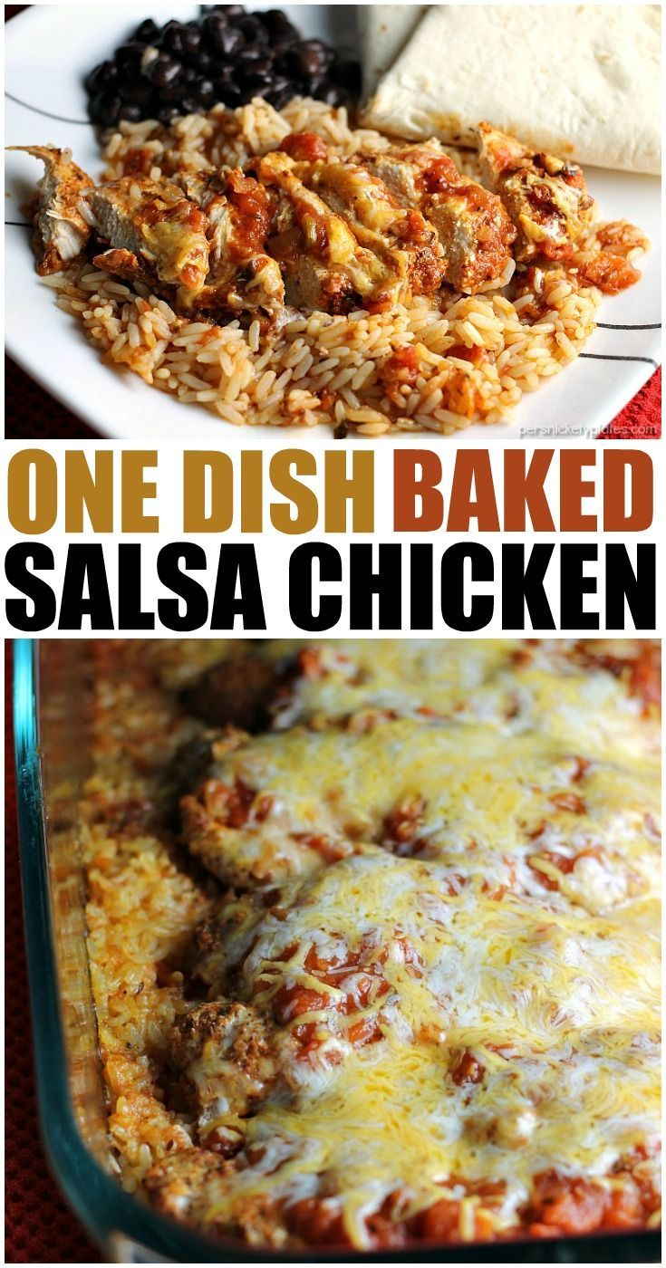 One Dish Baked Salsa Chicken Casserole is perfect for busy week nights or any…