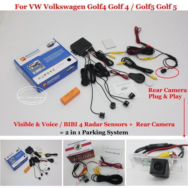 Автомобильная Стоянка Датчики + Камера Заднего вида = 2 в 1 Видео сигнализация Система Парковки Для VW Volkswagen Golf4 Golf 4 Golf5 Гольф 5
