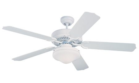 The Monte Carlo 52`` Weatherford Deluxe Outdoor Fan - White in white features a 153.0 X 15.0 3 speed motor with a Twelve degree blade pitch. Ready for mother nature. Day or night comfort that includes attractive light kit.