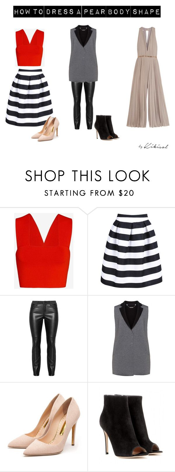 """""""How to Dress a Pear Body Shape"""" by bykikisol on Polyvore featuring A.L.C., Manon Baptiste, Rupert Sanderson, Gianvito Rossi, Halston Heritage, women's clothing, women, female, woman and misses"""