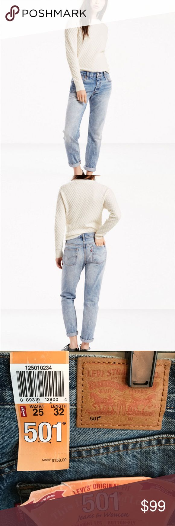 Levi's 501 Original Fit Because quality never goes out of style!! Levi's Original Fit 501 Jeans for Women. Straight Leg, Button fly. Slightly distressed 25Wx32L. Levi's Jeans Straight Leg
