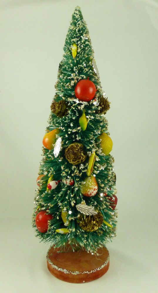Vintage Holt Howard Bottle Brush Christmas Tree with Fruit & Pine Cones-11.75""