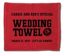 Your guests will love our custom designed wedding towel guest favors!  #hockeywedding #stwdotcom sports weddings, sport themed wedding ideas #wedding