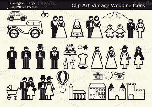36 Vintage Wedding Icons ~ Icons on Creative Market. Need to create a wedding program featuring all of your bridal party? Use these vintage icons to create cool look. http://crtv.mk/cLV4